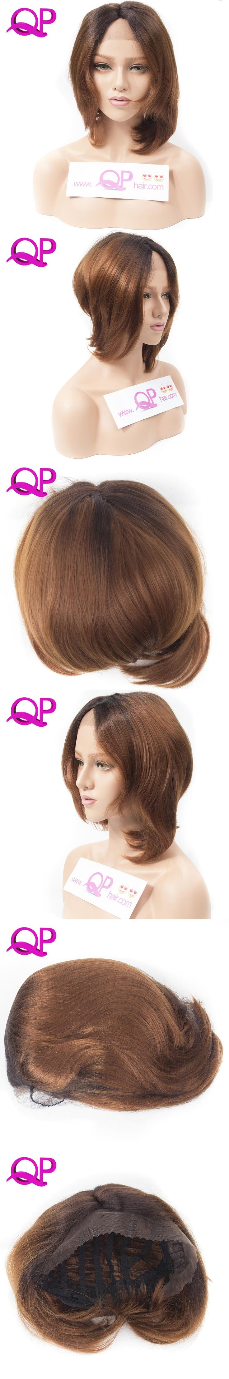 Qp hair Black Ombre Blone Straight Bob Synthetic Lace Front Wigs For Women High Temperature Short Hairstyles Natural Afro Wigs