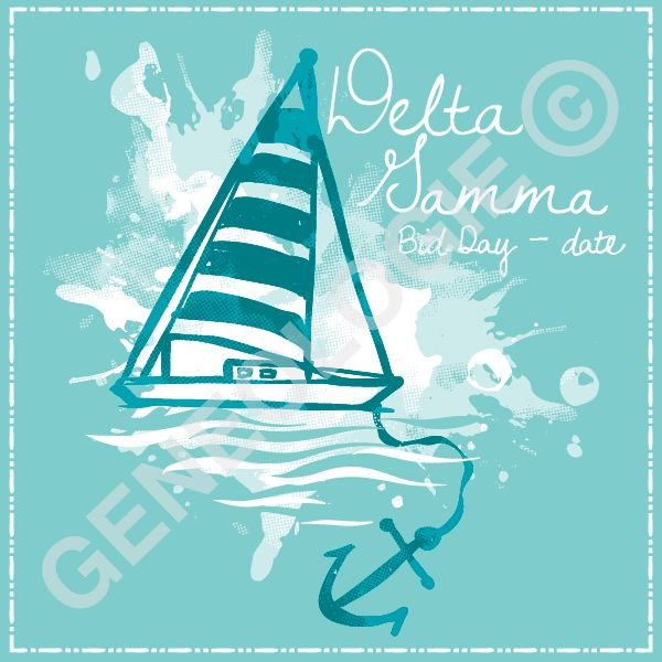 Geneologie | Greek Tee Shirts | Greek Tanks | Custom Apparel Design | Custom Greek Apparel | Sorority Tee Shirts | Sorority Tanks | Sorority Shirt Designs | Sorority Shirt Ideas | Greek Life | Hand Drawn | Sorority | Sisterhood | Bid Day | Nautical | DG | Delta Gamma | Anchor | Sailboat