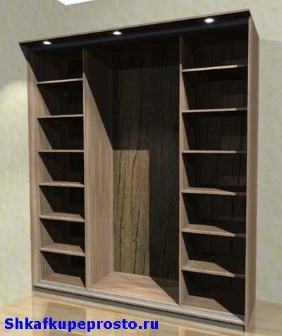 Каркас простого шкафа купе с боковыми секциями.