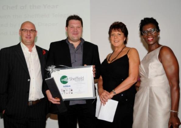 Eat Sheffield awards L to R: Mick Fox (Ultrasharp), Chefs' Chef 2012 Marcus Lane, Lesley Draper and Paulette Edwards.