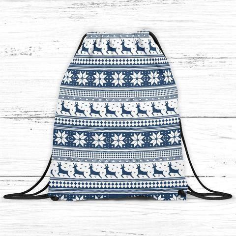 Winter Holiday Pattern Drawstring Bag Backpackdrawstring backpack/bag. This personalized backpack/bag...