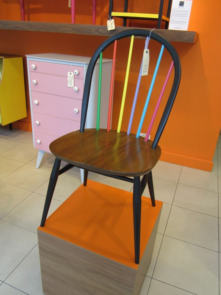 This colourful restoration of an old ercol Windsor chair was done for Heals by High Wycombe based charity Out of the Dark, who provide training and employment for challenging youngsters, giving them skills in furniture making and restoration.