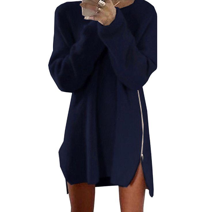 Aliexpress.com: Comprar Elegante Otoño de Manga Larga Vestido de Suéter Ocasional de Las Mujeres 2017 de la Cremallera Kintted Loose Invierno Túnica Vestidos robe hiver vetement femme de vestido de suéter de manga larga fiable proveedores en Aproms Store