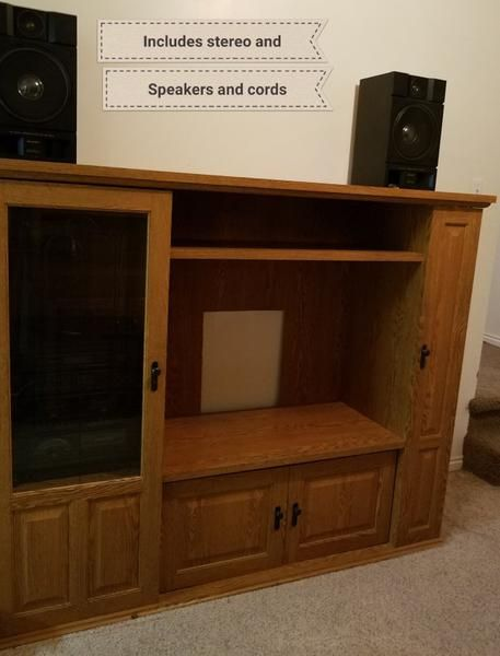 Entertainment Center With Turntable Stereo And Spe