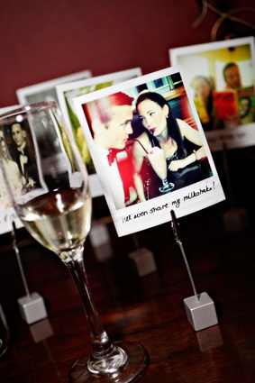 """Cute """"polaroids"""" displayed on a table at my wedding - some of the couple and also weddingpix of parents and grandparents - with dates! V nostalgic :) Photo by Rachel Rose"""