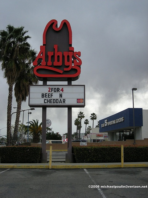 """What time period this this Arby's sign come into the picture? 70's? Photo by michaelpoulin@verizon.net    If you'd like to check out more images of Downey,California please click on the right where it reads """"Downey,California ( Pool)"""" or by clicking on  - Awesome photo. Love it."""