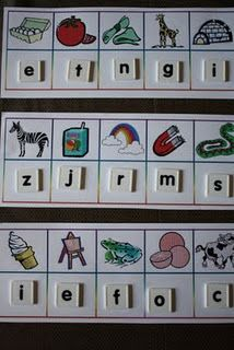 Beginning sound card mats- Students can use pre-cut letters or magnets to lay them under the picture. ~Keila Allen  What a great Kindergarten ELA activity!