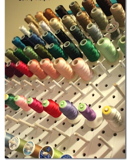 this shows a tutorial on an easy way to make your own Thread Rack - - perfect, because the ones you buy are pricey