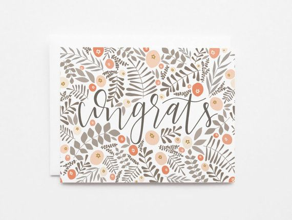 Congratulations Card Set | Hand Illustrated Floral Congrats Card Set of 8 with Hand Lettered Calligraphy