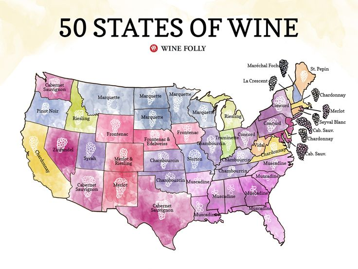 50 States Of Wine Map