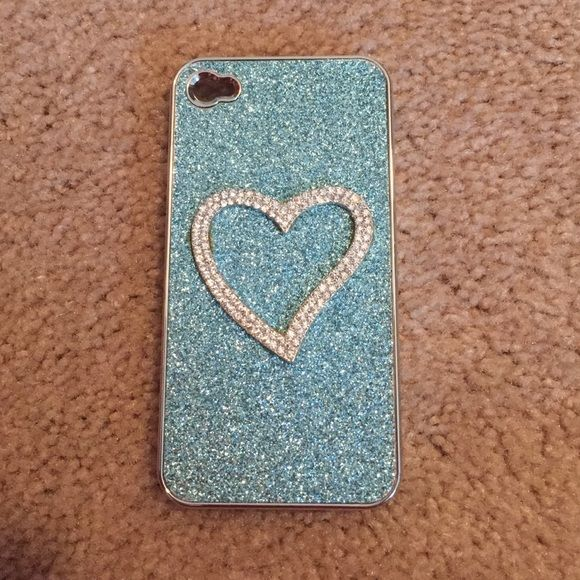 Phone case for iPhone 4s Sparkly blue with rhinestone heart clip on case for iPhone 4s. Excellent condition Other