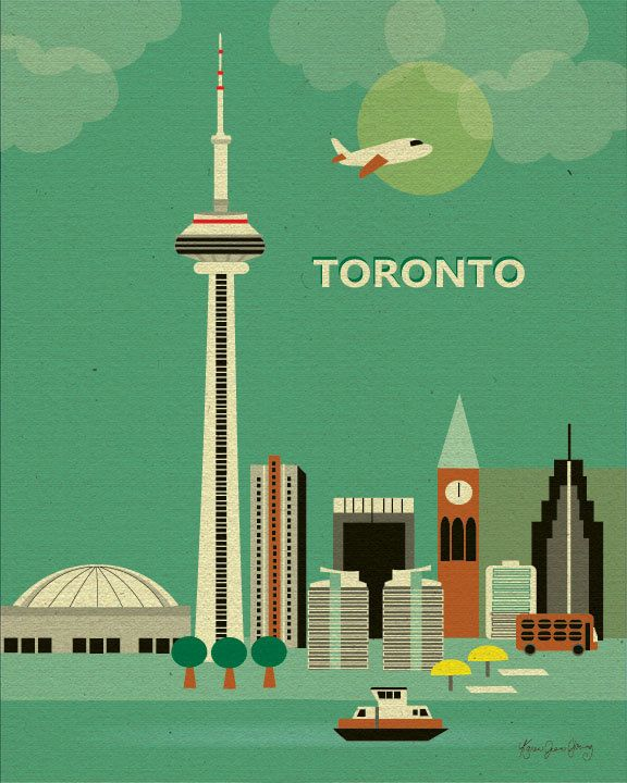 Transportation Collage of Toronto Canada Skyline by loosepetals, $19.99