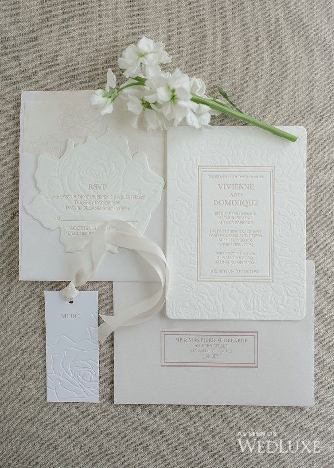 Invitations | This Glitterati Style File from our latest issue is filled with white #wedding eye candy | WedLuxe