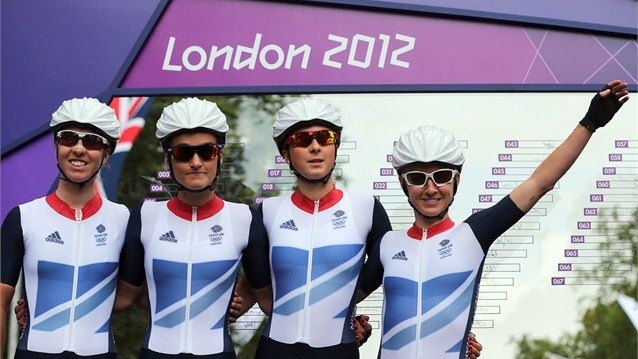 (L-R) Beijing Olympic gold medallist Nicole Cooke with the rest of the Great Britain team, Elizabeth Armitstead, Lucy Martin and Emma Pooley, pose ahead of the women's Cycling Road Race on Day 2 of the London 2012 Olympic Games.