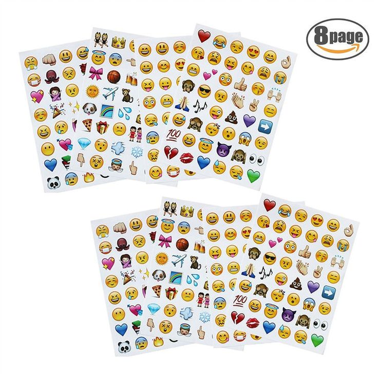 Emoji Stickers 8 Sheets 384 Happy Faces Kid Stickers Cute Most Popular Emoticons Funny