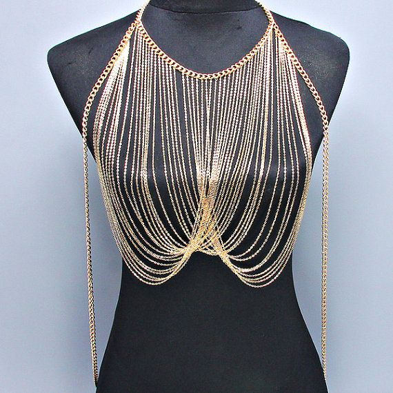 New Women Gold Shine Body Chain Necklace, Harness Necklace, Beach Party