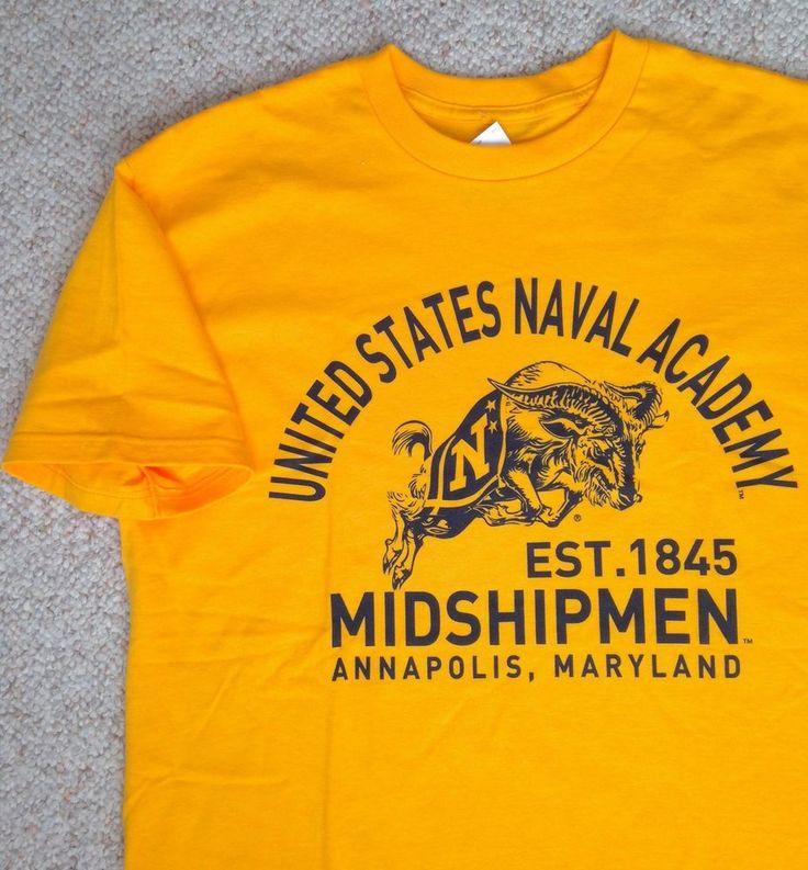 UNITED STATES NAVAL ACADEMY T-SHIRT Yellow/Gold & Navy Blue Midshipmen MENS MED #TheGame #NavyMidshipmen