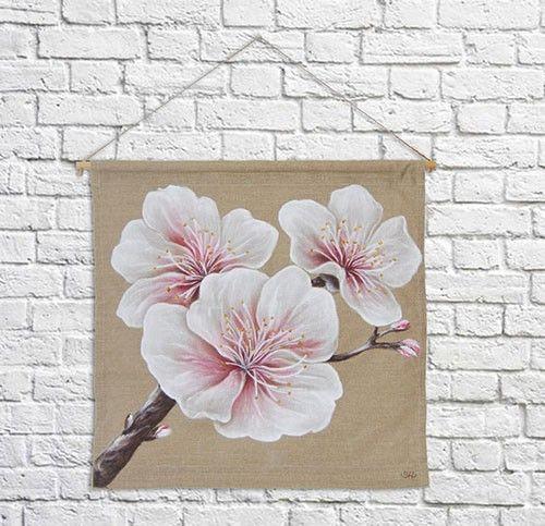 Kakemono fleurs de cerisier sur toile de lin.