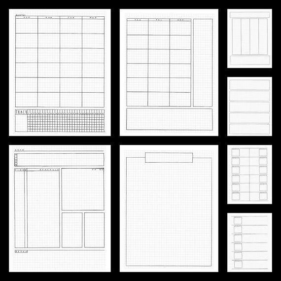 Planificador páginas - bolígrafo Simple, bala diario estilo de viñeta, para imprimir