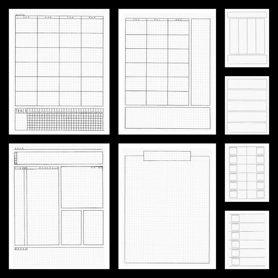 Bullet Journal Planner Pages - printable hand drawn templates Etsy.com Blackline Masters