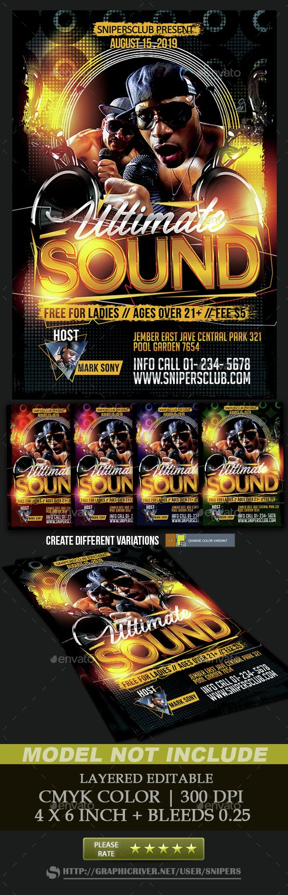 Ultimate Sound Flyer Template PSD. Download here: http://graphicriver.net/item/ultimate-sound/15112578?ref=ksioks