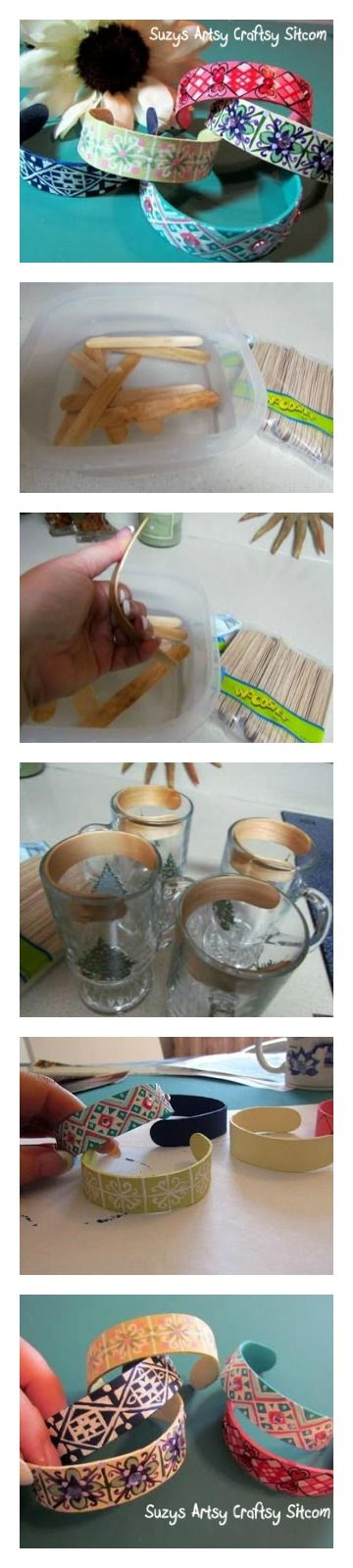 Bend popsicle sticks to make cute popsicle stick bracelets! Have to try with the girls