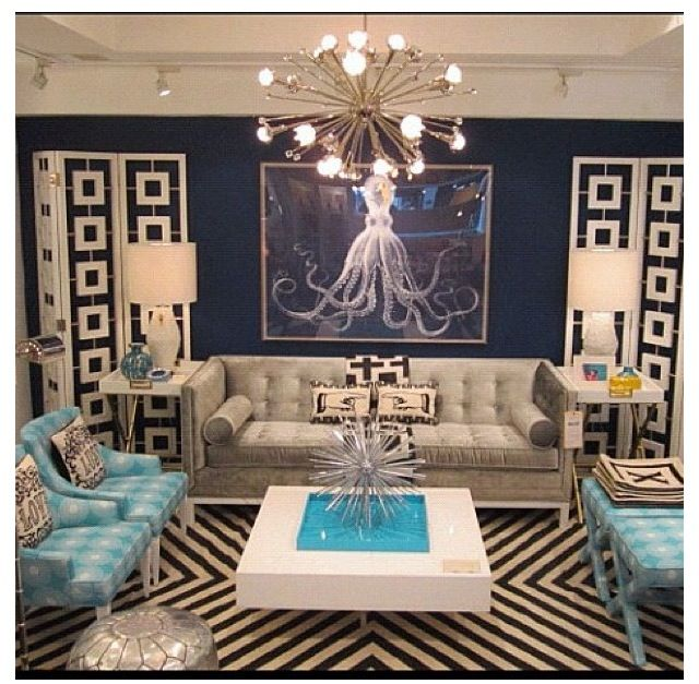 Gorgeous Hollywood Regency Glam! Turquoise Velvet Chairs. Good Layout, A  Little Busy · Madison AvenueLiving Room ... Part 43