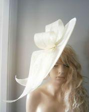 Cream Las Saucer Hat Fascinator Vintage Ascot Wedding Burlesque