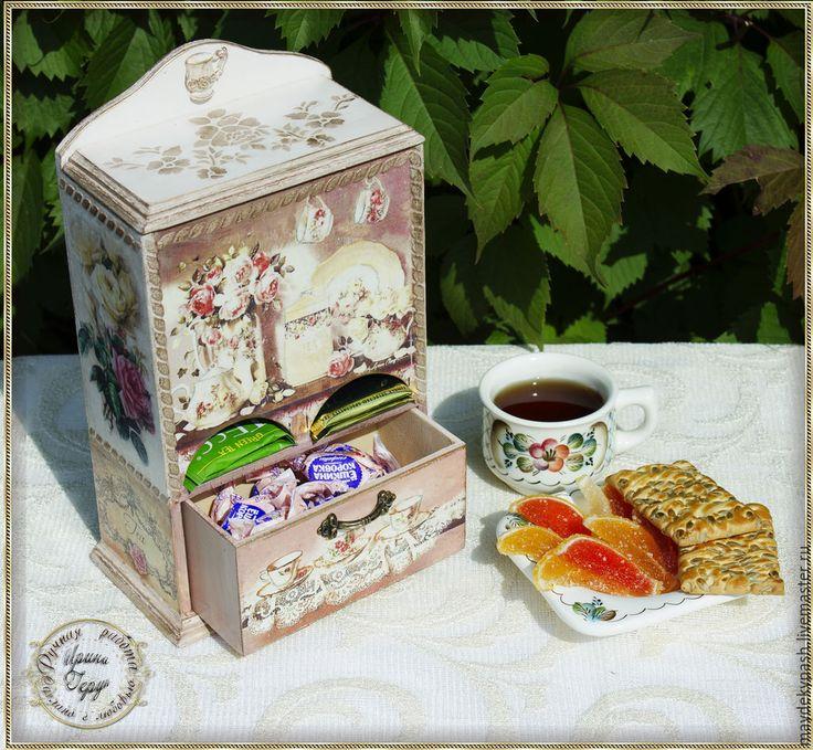 Буфет для чайных пакетиков - бежевый, чайный домик декупаж, домик для чая, буфет Tea houses and boxes handmade