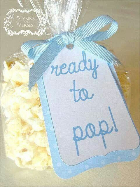 Ready to pop popcorn bags for a baby shower. Can be changed for pink for a girl. Or yellow for neutral.