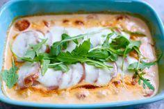 Falukorvsgratäng med mozzarella