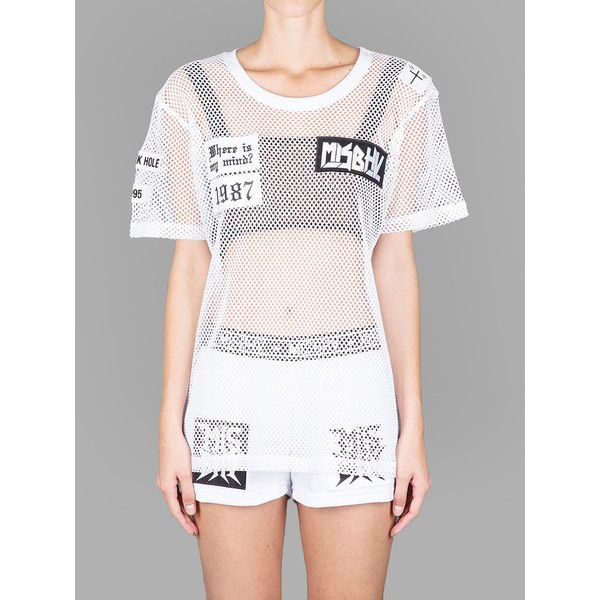 Misbhv T Shirts (€25) ❤ liked on Polyvore featuring tops, t-shirts, white, sheer top, sheer mesh top, mesh t shirt, white mesh top and sheer t shirt