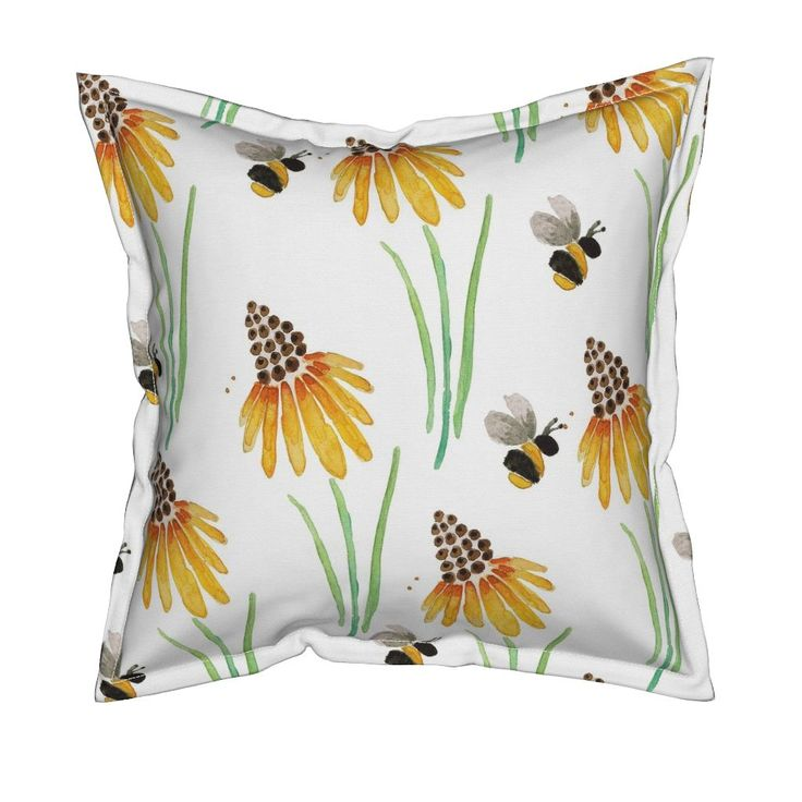 Serama Throw Pillow featuring Rudbeckia Coneflowers & Bubble Bees by jessmorris | Roostery Home Decor