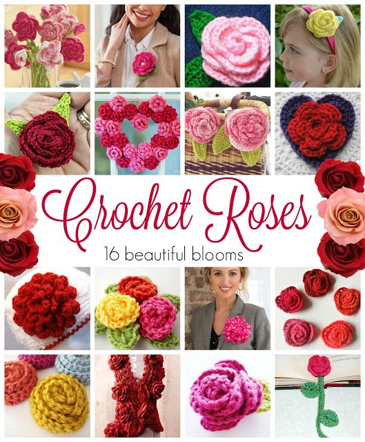 Crochet Roses! 16 Free Crochet Patterns compiled by Fiber Flux
