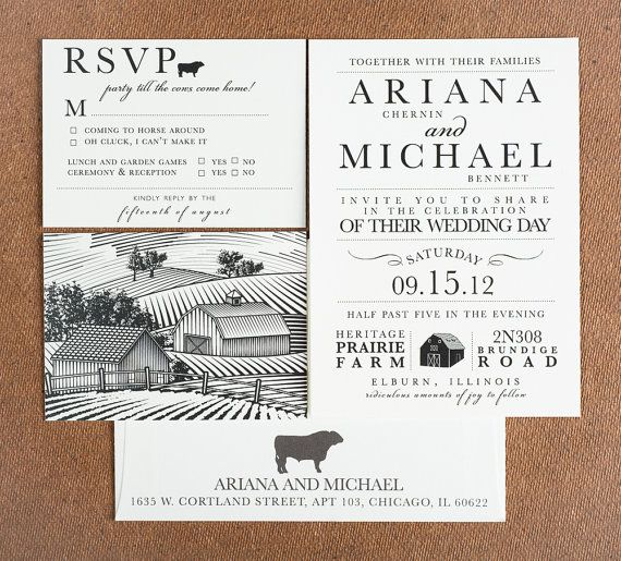 Wedding Invitation Party Till The Cows Come Home Collection Rustic Farm House Themed Invitations