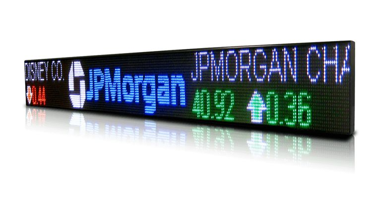 Electronic Led Signs as Stock Ticker Tape
