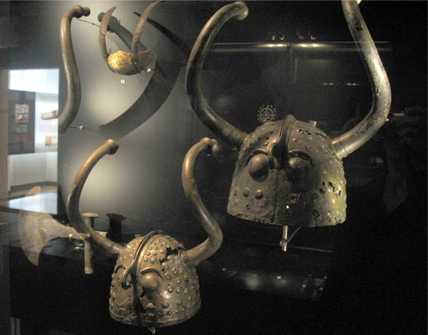 Bronze Age horned helmets from Brøns Mose at Viksø (Veksø) on Zealand, Denmark. Now in the Nationalmuseet (National Museum of Denmark) in Copenhagen.
