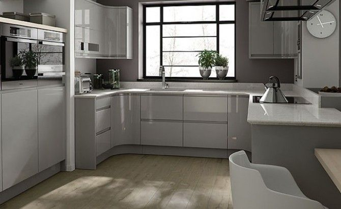 Grey gloss kitchen in a modern & uncluttered slab style.