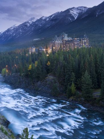 Banff Springs Hotel from Surprise Point and Bow River, Banff National Park, Alberta