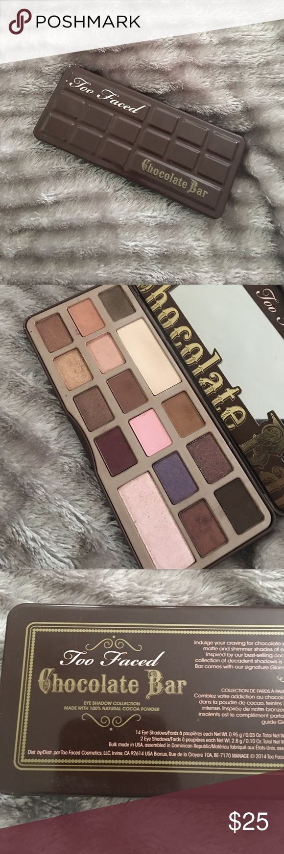 Too Faced Chocolate Bar Palette Used eyeshadow palette with lots of product still left, all colors still intact. This is the original palette when it first released in the slightly thicker pans. No trade! The most used colors are the cream beige and the medium brown shade (the 2nd shade in the large pan in the first row (cream) and the shade right after it (brown)) Too Faced Makeup Eyeshadow