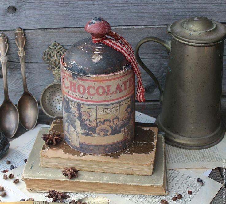 """Купить """"Шоколадная лавка"""" короб - коричневый, шоколадный, шоколад, винтаж, ретро, короб для хранения, короб"""