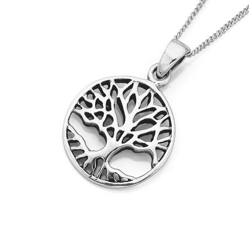 Sterling Silver Round Tree Of Life Pendant
