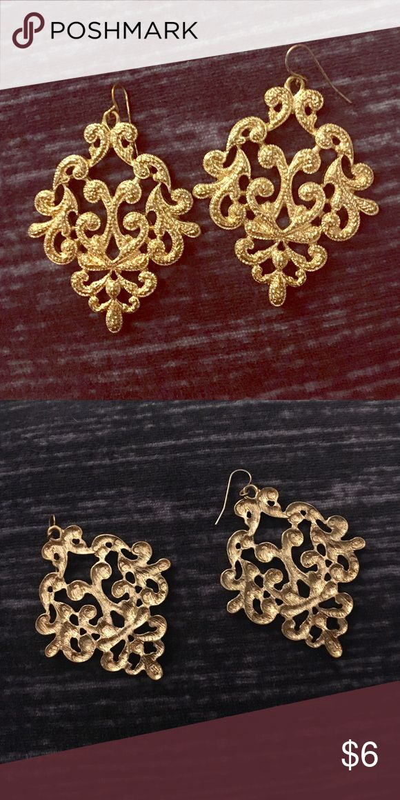 Gold Filigree Statement Earrings Gold colored metal. Hook back. Jewelry Earrings