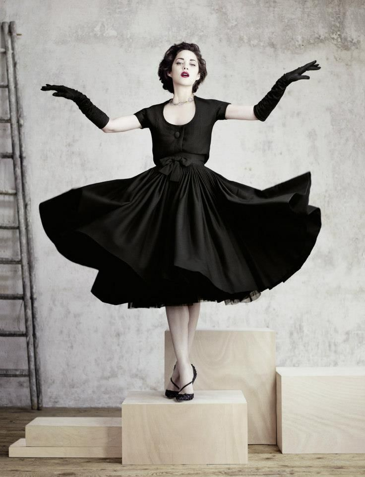 Tourbillon dress and bolero in black crepe wool HC FW 1957-1958 Ligne Fuseau