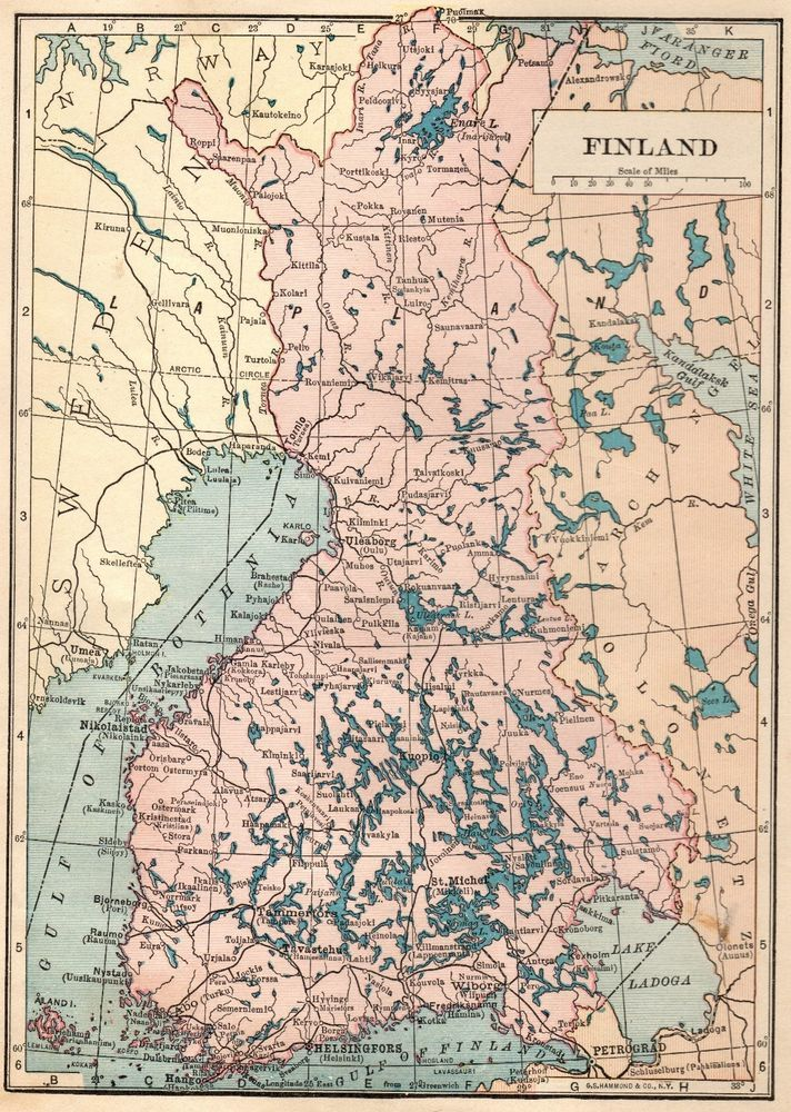 1926 Antique Finland Map Vintage Map Of Finland Gallery Wall Art