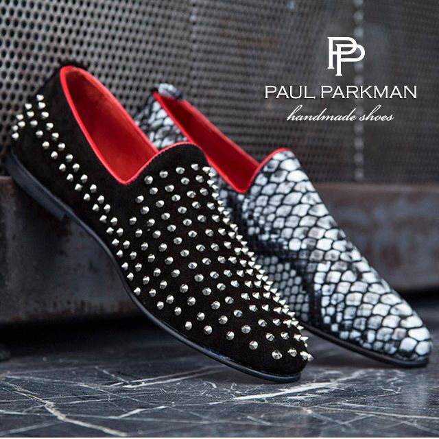 paul parkman  u00ae men u0026 39 s slipper shoes   spiked black suede  u0026 gray snake printed leather