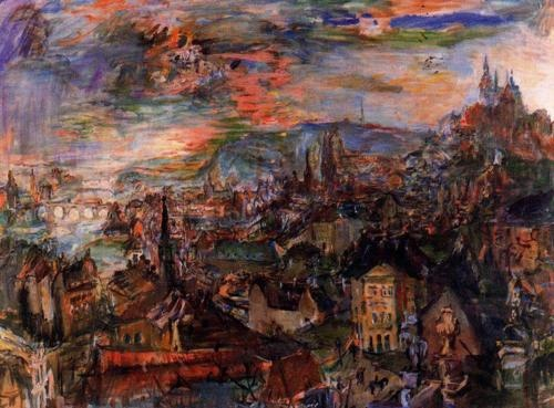 Oskar Kokoschka - Prague, View from Villa Kramar (1934)