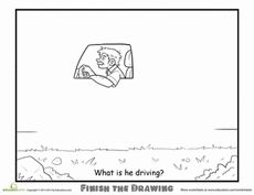 Finish the Drawing: What is he Driving? Worksheet