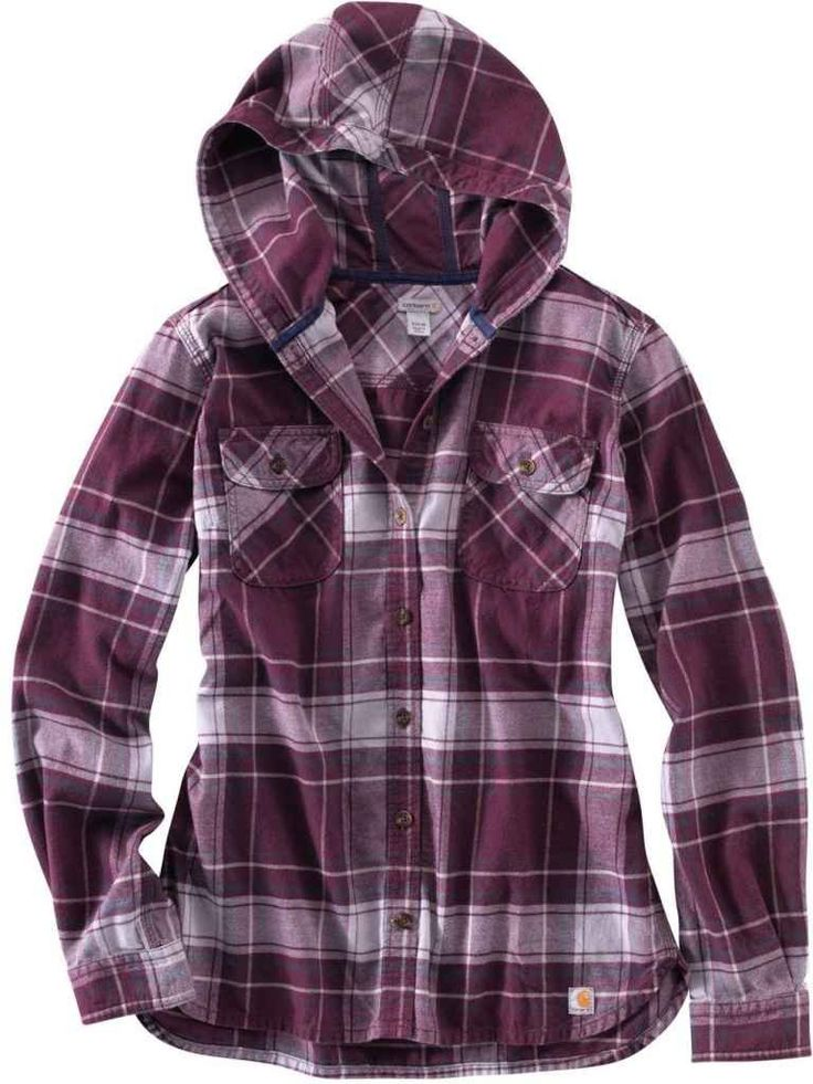 Carhartt Women's Belton Flannel Hooded Shirt at Amazon Women's Clothing store: