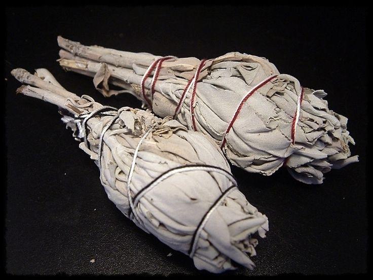 """White Sage Sticks White Sage, weißer Salbei , handgebundene Räuchersticks, Länge ca. 13cm und einem Gewicht von 15-20g. Die Ureinwohner Amerikas benutzten """"White Sage"""" bereits als Räucherwerk. Er wurde und wird z.B. zu """"Smudge Sticks""""(Kräuterbündel) gebunden. Diese werden an einem Ende angezündet, die Flamme dann ausgeblasen und der Glut wird Luft zugefächert. Genauso kann man aber auch einzelne Blätter räuchern, sein starker Duft ist unverkennbar."""